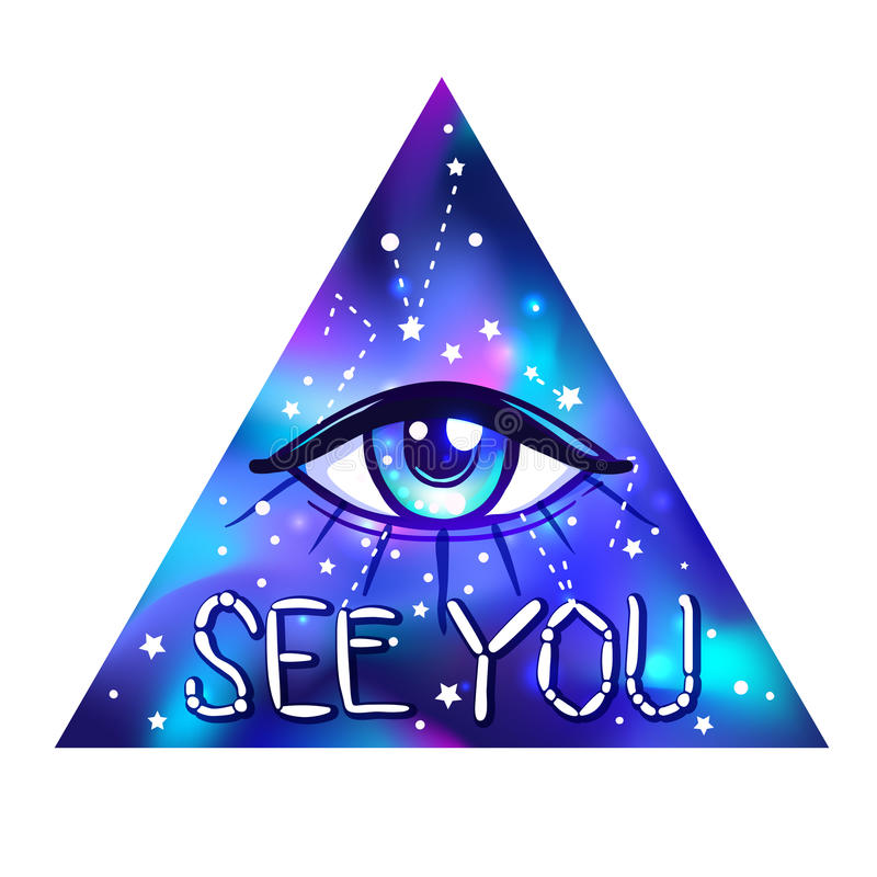 All seeing eye. Vector bright colorful cosmos illustration. Cosmic background with stars. Hand-drawn Eye of Providence. stock illustration