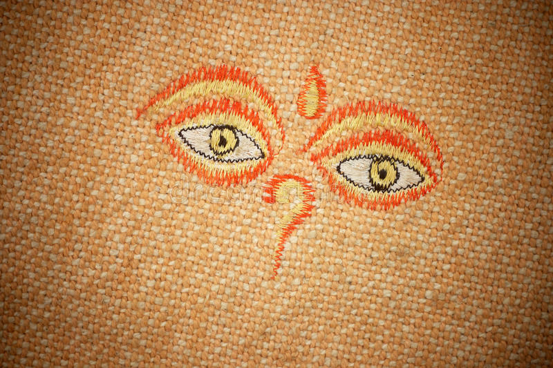 Download The All-seeing Eyes Of Buddha On Canvas Texture. Stock Illustration - Image: 13469986