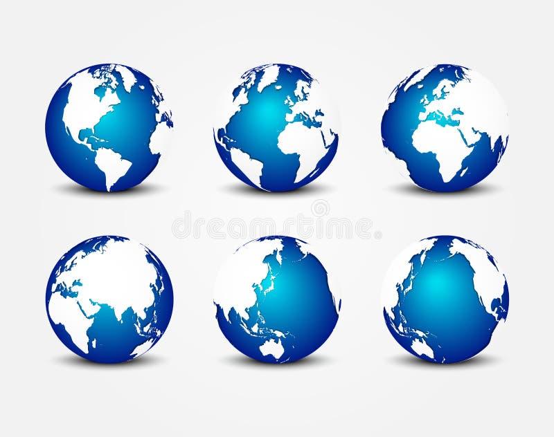 All sida av den blåa planeten & x28; runt om världen & x29; & x28; jordbeskyddbegrepp & x29; stock illustrationer