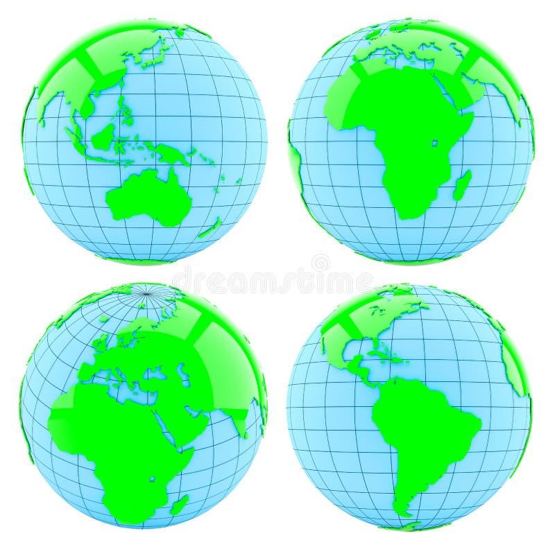 All sida av jord isolerat vektor illustrationer
