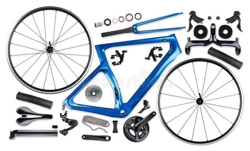 All single parts of blue black modern aerodynamic carbon fiber racing road bicycle stock image