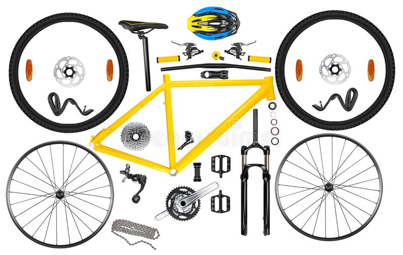 All single parts components of yellow black modern aluminum mountain bike mtb offroad sport bicycle isolated white background. All single parts components of royalty free stock photography