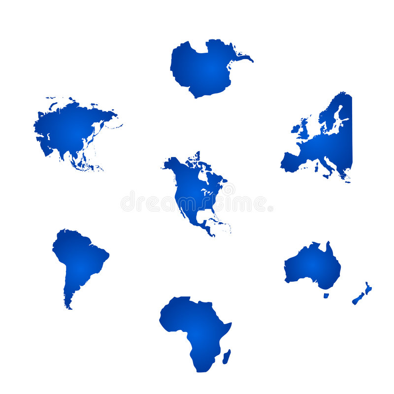 All The Six Continents Of The World Stock Vector Illustration Of - Six continents of the world