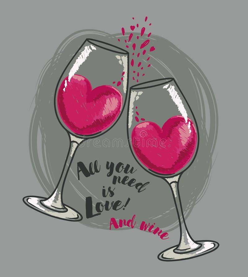 All ` som du behöver, är förälskelse- och vin`-affischen med två vinexponeringsglas och hjärtor stock illustrationer