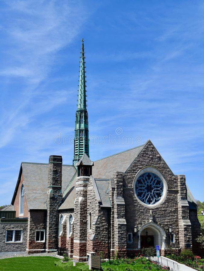 All Souls Congregational Church. This is a Spring picture of the historic All Souls Congregational located in Bangor, Maine in Penobscot County. This stone stock photography