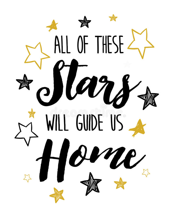 All of these stars will guide us home. Sheeran Calligraphy Typography Design Music Lyrics poster with heart vector illustration