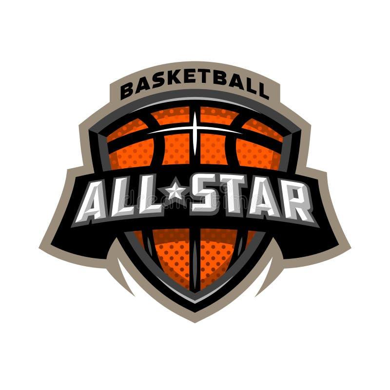 All stjärnabasket, sportlogoemblem stock illustrationer