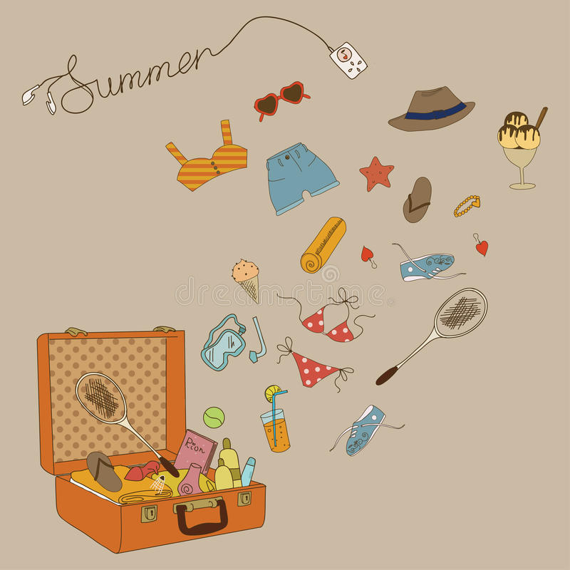 All for the summer holidays. Suitcase with things and every little thing. Enjoy your summer vacation!