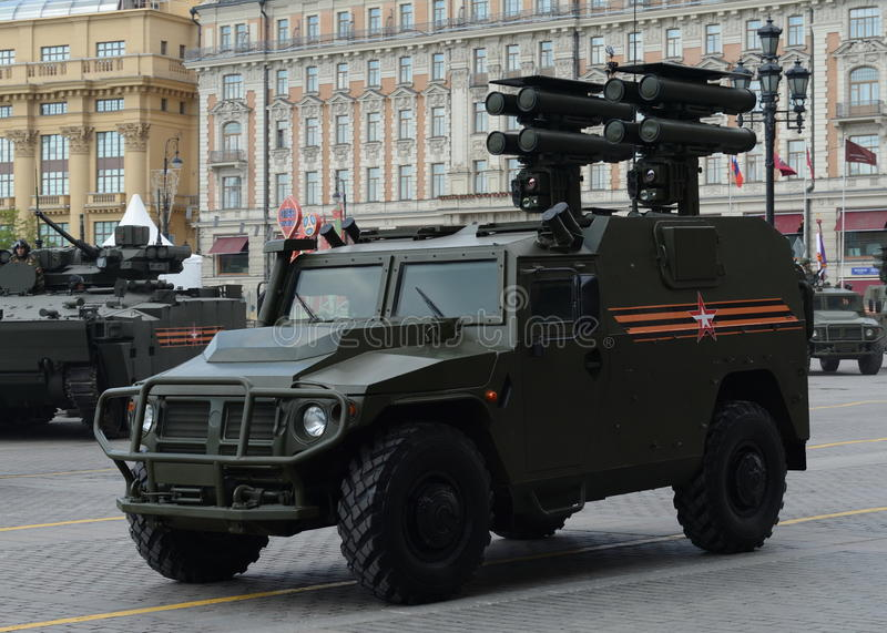 All-terrain infantry mobility vehicle GAZ Tigr with anti-tank guided missile system Kornet. MOSCOW, RUSSIA - MAY 07, 2016: Rehearsal celebration of the 71th stock photos