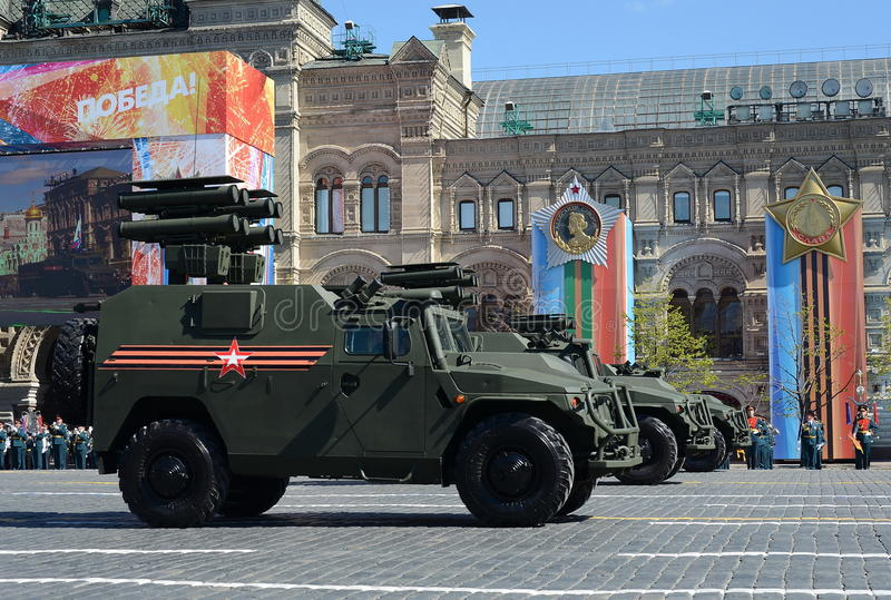 All-terrain infantry mobility vehicle GAZ Tigr with anti-tank guided missile system Kornet. MOSCOW, RUSSIA - MAY 07, 2017: Rehearsal celebration of the 72th stock photos