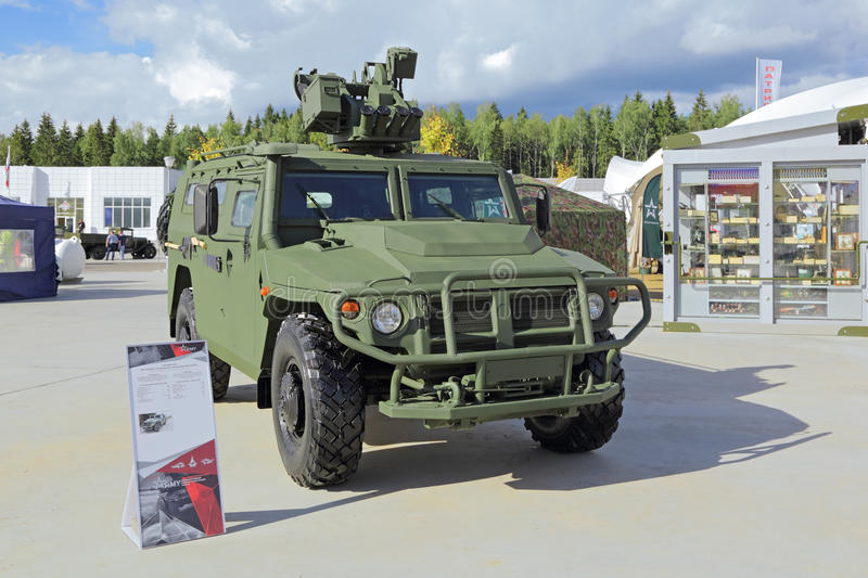 All-terrain infantry vehicle. KUBINKA, MOSCOW OBLAST, RUSSIA - SEP 06, 2016: International military-technical forum ARMY-2016. GAZ Tigr-M is a Russian 4x4 royalty free stock photo