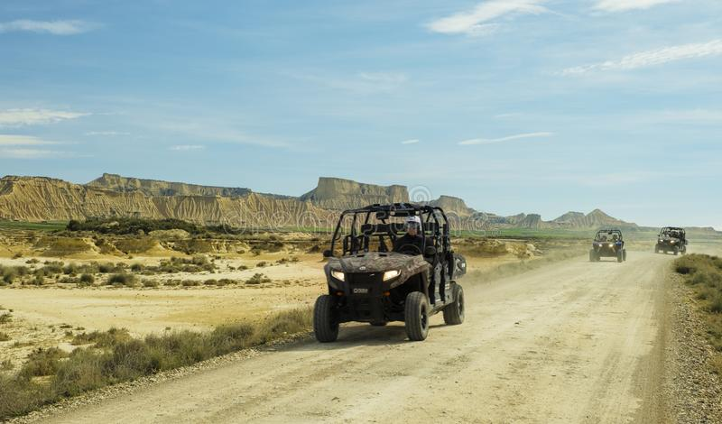 All-terrain vehicle circulating at speed in the desert of the Bardenas. Navarra stock images