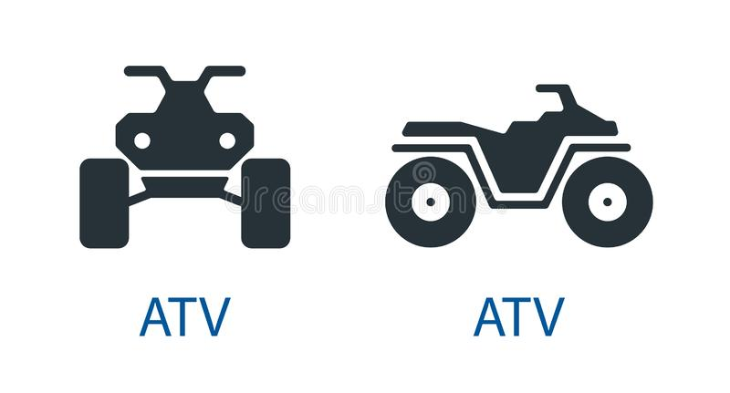 All-terrain vehicle Quad bike atv icon  front view off-road motorcycles set vector sign royalty free illustration