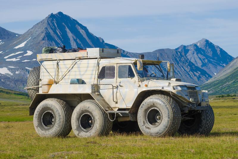 All-terrain vehicle `Trekol` close-up. POLAR URAL, RUSSIA-AUGUST 27, 2018: All-terrain vehicle `Trekol` close-up on the background of the mountains of the Polar stock image