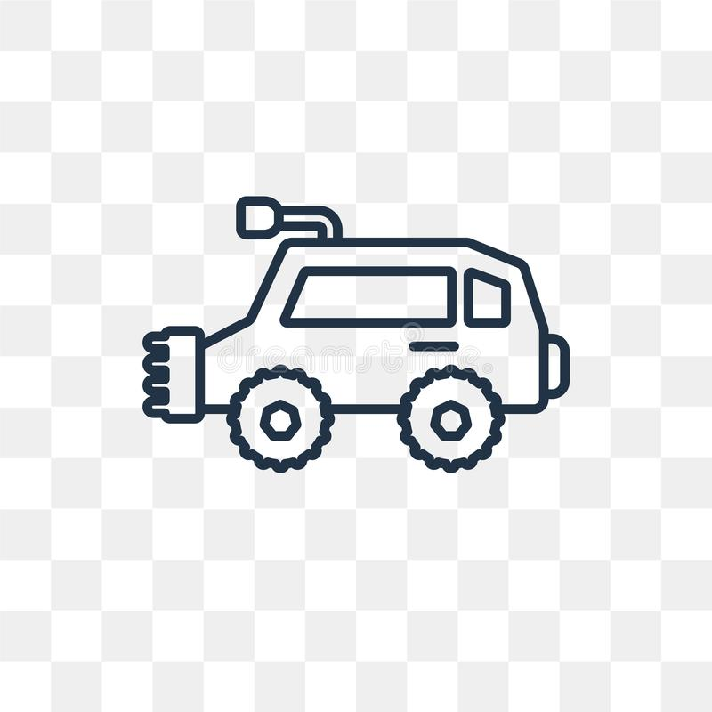 All terrain vehicle vector icon isolated on transparent background, linear All terrain vehicle transparency concept can be used w stock illustration