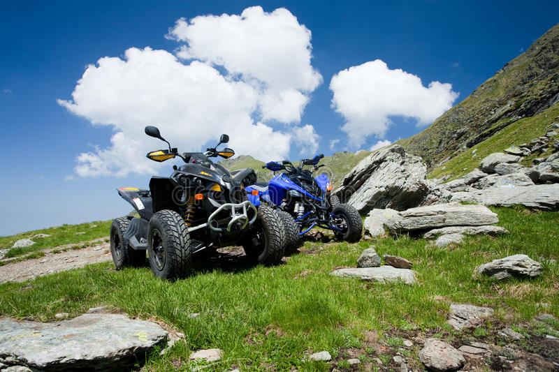 All terrain vehicles offroad on mountain royalty free stock photos