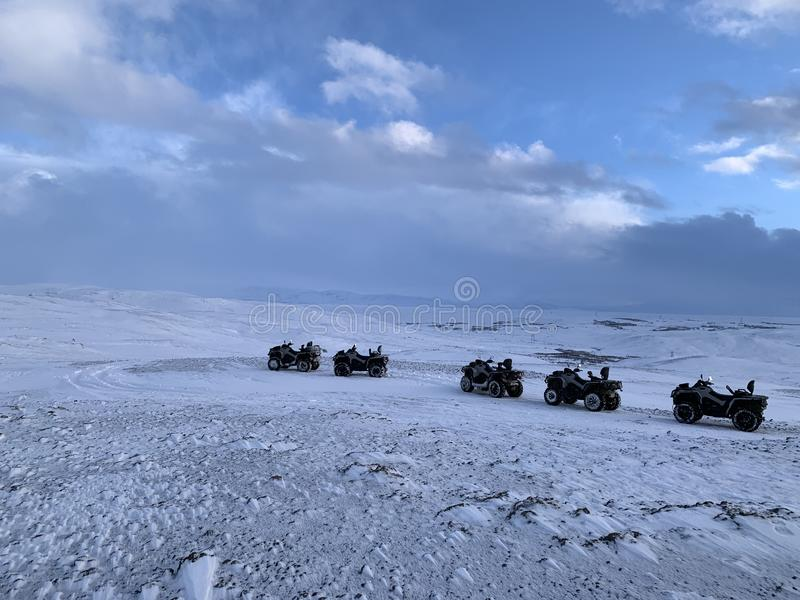 ATVs lined up in Iceland stock photos
