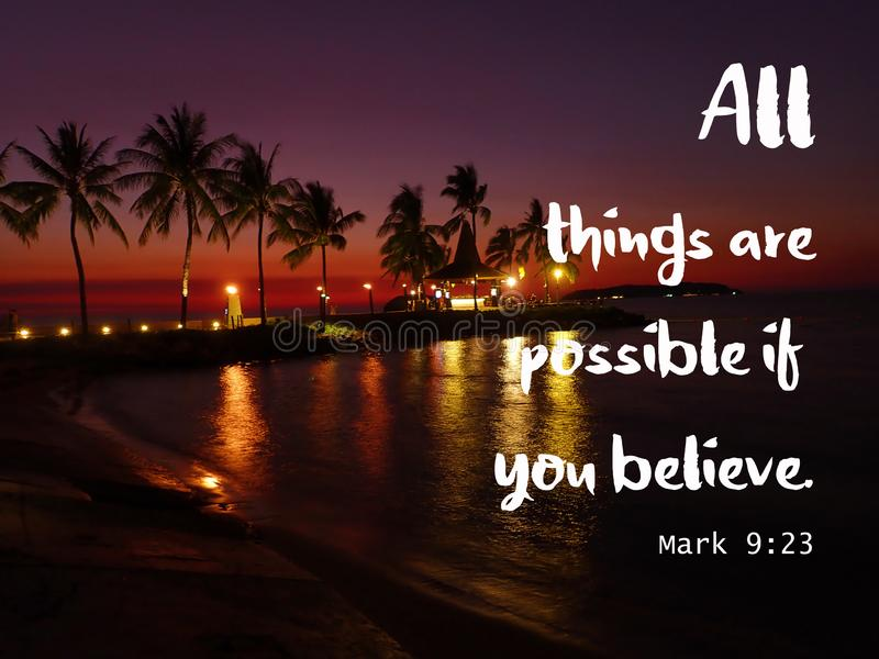 All thing are possible design bible verse for Christianity with sunset background. Read inspirational Bible verses and quotes that will encourage and uplift you stock illustration