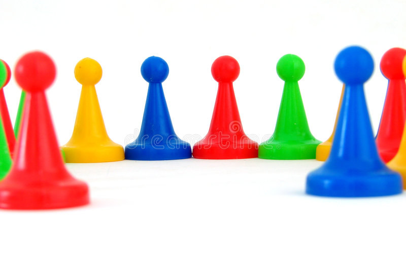 All together. Some pieces of a game on a white background royalty free stock photography