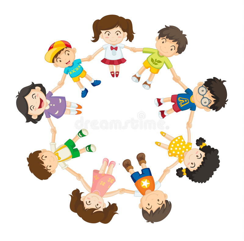 All together. Illustration of a ring of children royalty free illustration