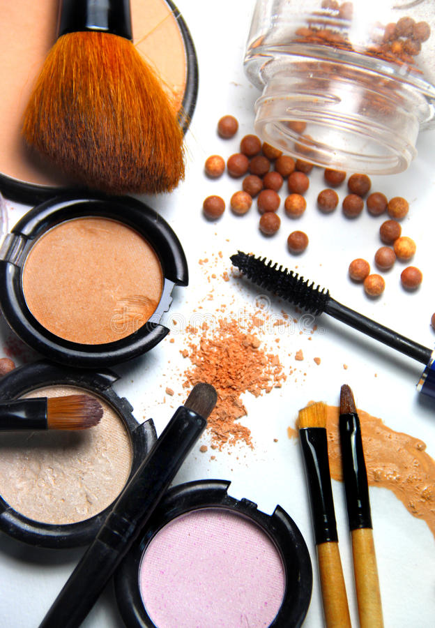 All types of make-up and brushes stock photo