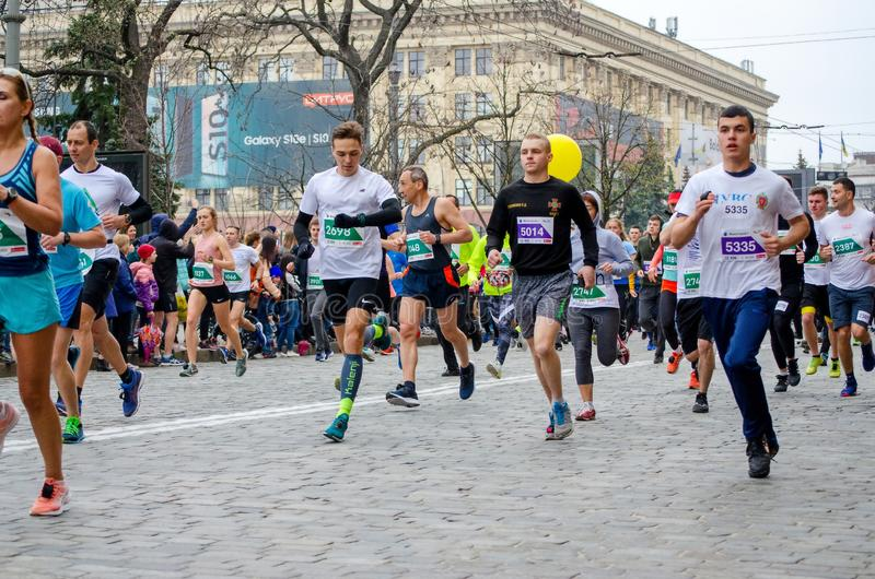 All-Ukrainian Marathon through the streets of the city, promoting a healthy lifestyle royalty free stock image