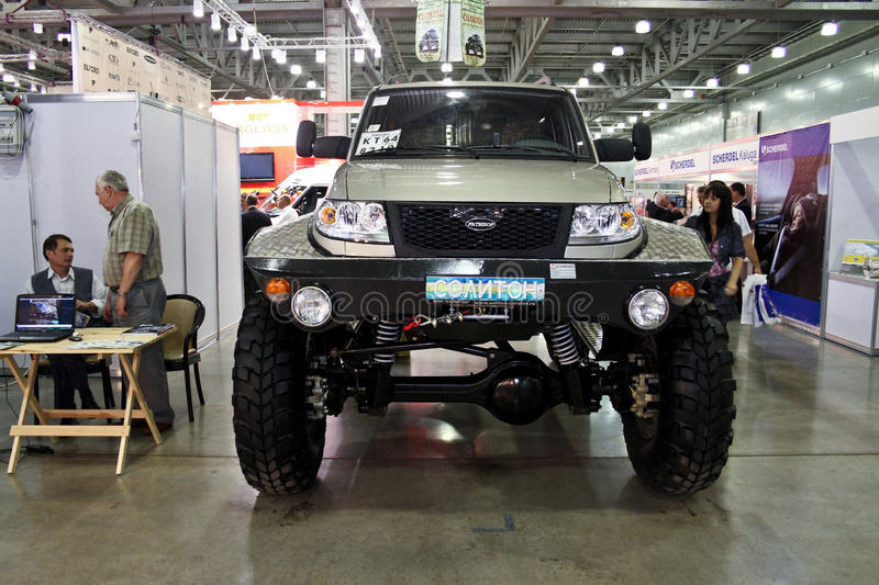 All-wheel drive car RATIBOR 21597. MOSCOW - AUGUST 25: All-wheel drive car RATIBOR 21597 at the international exhibition of the auto and components industry royalty free stock photo