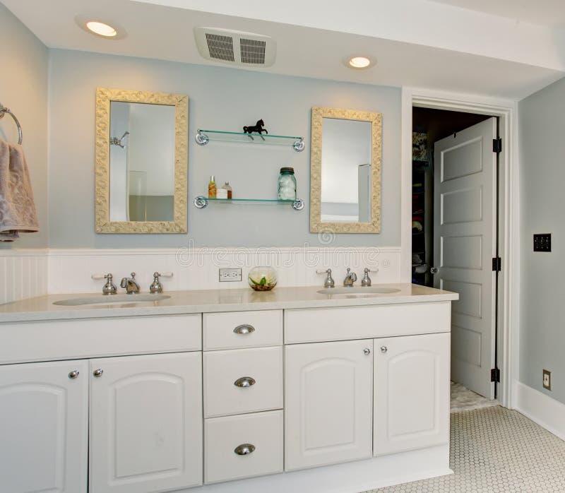 Download All White Luxury Master Bathroom With Vintage Theme Stock Photo