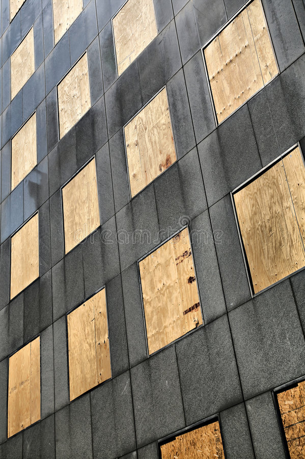All windows boarded up royalty free stock image