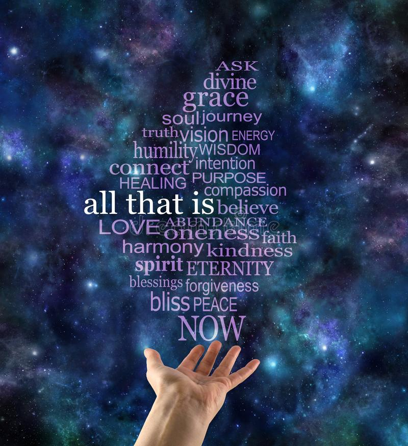 ALL THAT IS word tag cloud deep space background. Dark blue night sky with female hand offering an ALL THAT IS word cloud floating up to the top stock photo