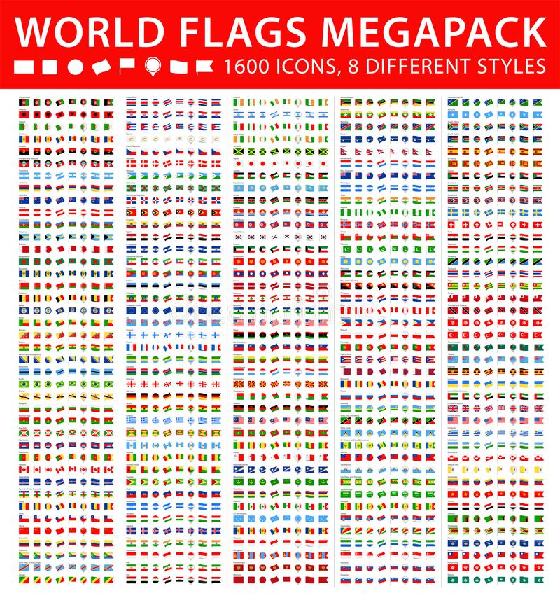 All World Flags - Mega Set. Different styles. Vector Flat Icons vector illustration
