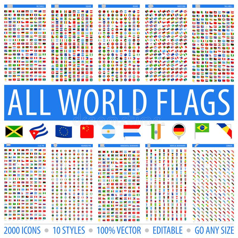 All World Flags - Set of Different Styles. Vector Flat Icons royalty free stock photo