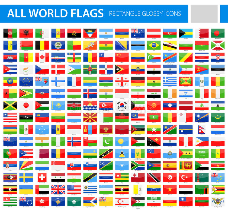 All World Flags - Rectangle Glossy Vector Icons vector illustration