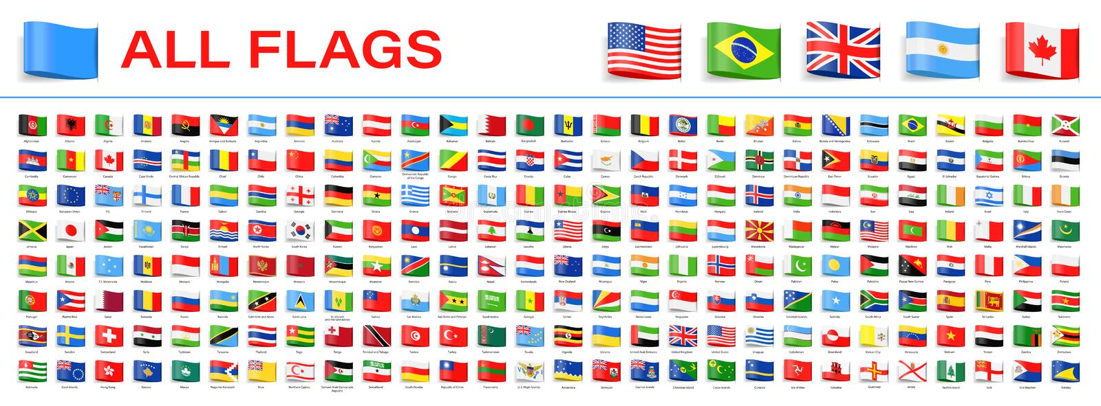 All World Flags - Vector Tag Label Flat Icons. 2020 versions of flags royalty free stock image