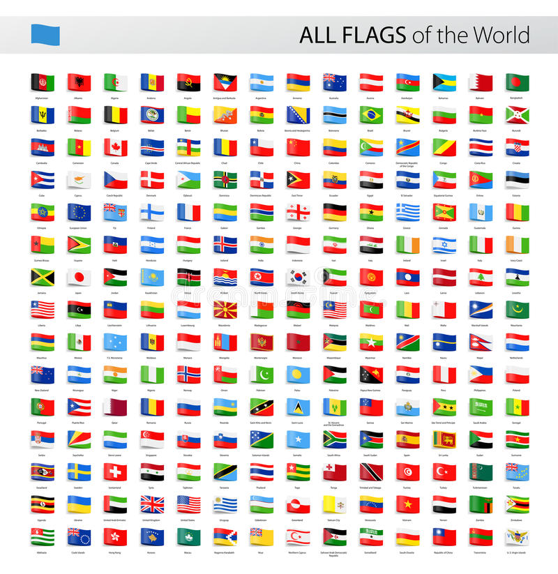 All World Tag Vector Flags - Collection stock illustration