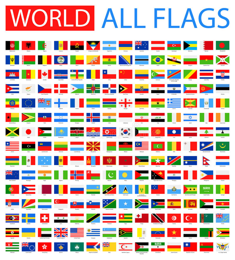 All World Vector Flags. 210 items. Vector Collection of Flat Flags. There are Afghanistan, Albania, Algeria, Andorra, Angola, Antigua and Barbuda, Argentina royalty free illustration