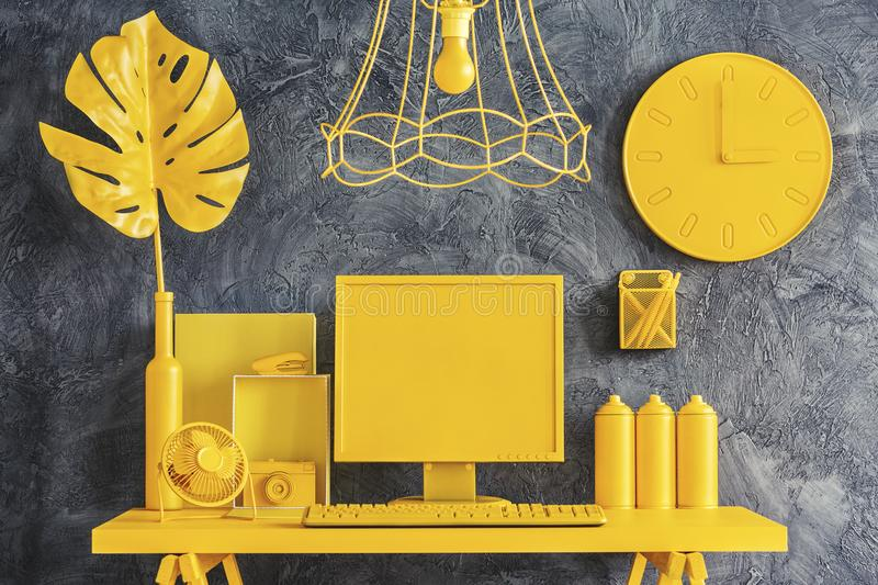 All Yellow Workspace Concept Stock Image - Image of design ...