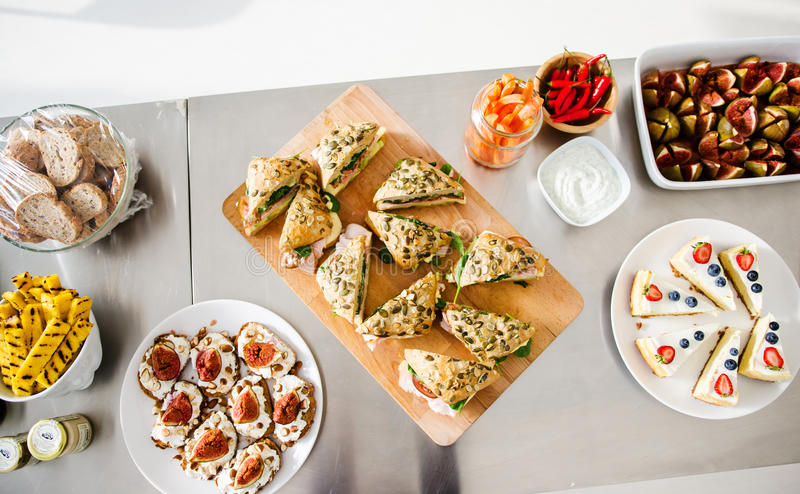 All you can eat brunch. With sandwiches and salads royalty free stock photos