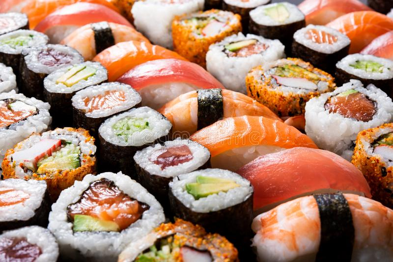 All you can eat sushi royalty free stock photo