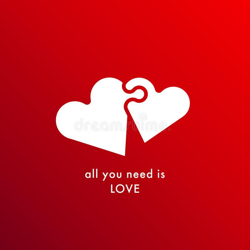 All you need is love. Amour quote with puzzle hearts. Valentines Day Vector illustration isolated on red background. Valentine background design for greeting royalty free illustration