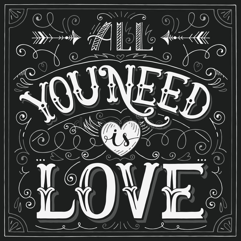 'All you need is love' hand-lettering for print, card vector illustration