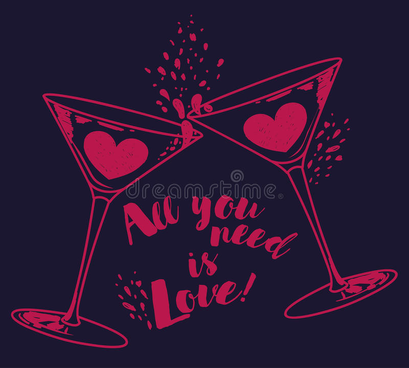 `All you need is love` poster with two martini glasses and hearts royalty free illustration