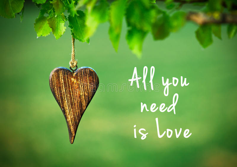 All you need is love quote. All you need is love - inspirational quote on natural green background with wooden shape of heart royalty free stock photos
