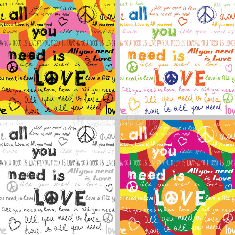 All You Need Is Love (Set of 4 Seamless Backgrounds with Hand Written Text). All You Need Is Love (Set of 4 Seamless Backgrounds with Written Text royalty free illustration