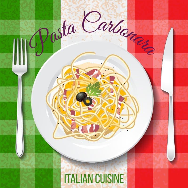 alla茄子背景烹调新鲜的意大利norma荷兰芹意大利面食意粉蕃茄传统白色 向量例证
