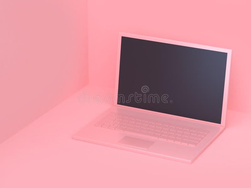 alla abstrakta för bärbar dator 3d för dator rosa färger med minsta abstrakt rosa bakgrund 3d för tom skärm att framföra stock illustrationer
