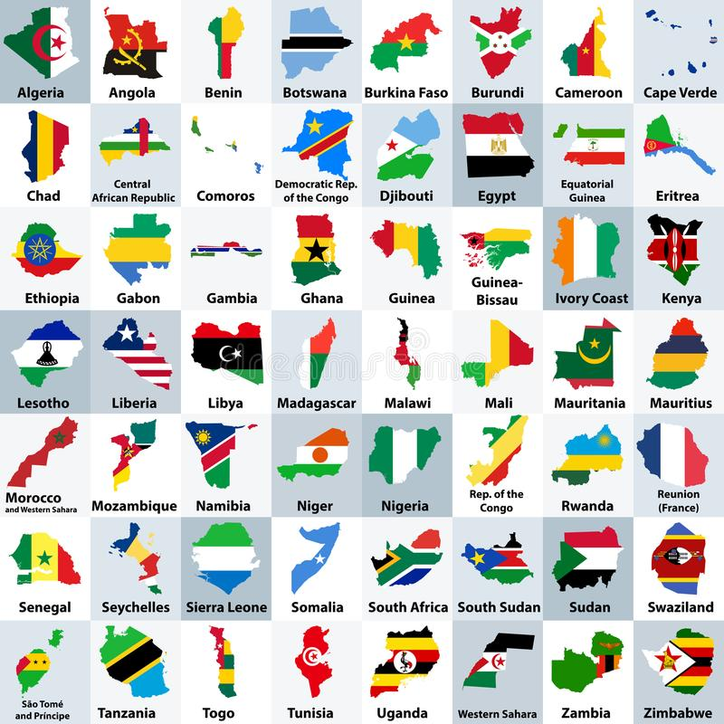 Alla afrikanska länder kartlägger blandat med deras nationsflaggor och ordnat i alfabetisk ordning stock illustrationer