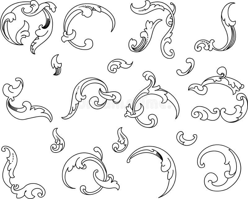 alla barockclipartkurvor separat stock illustrationer