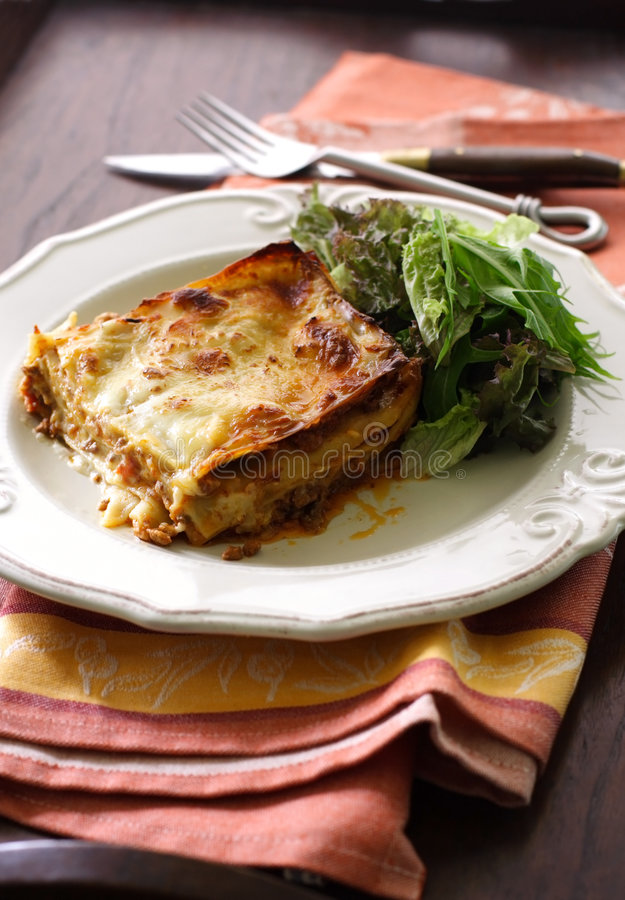 Alla Bolonais de lasagne photographie stock