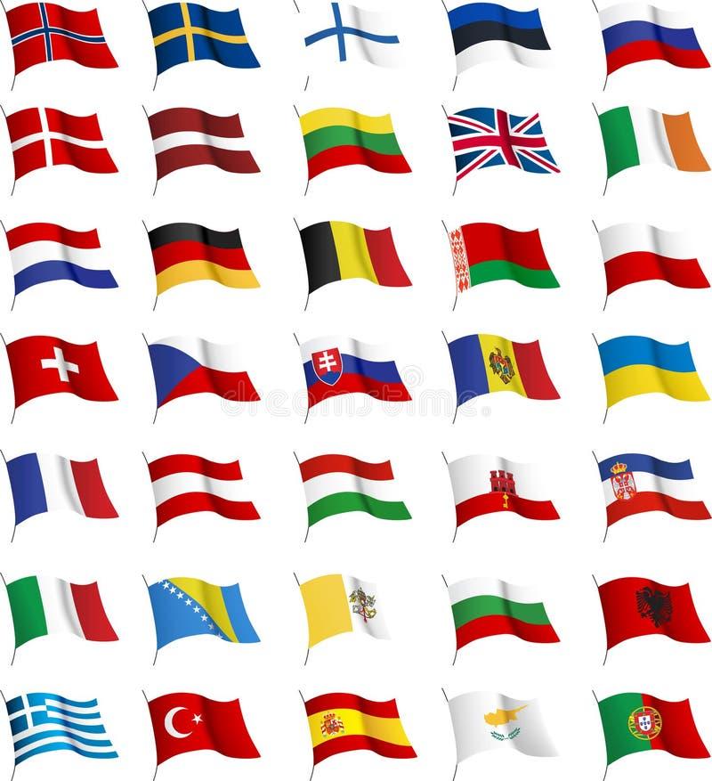alla europeanflaggor stock illustrationer